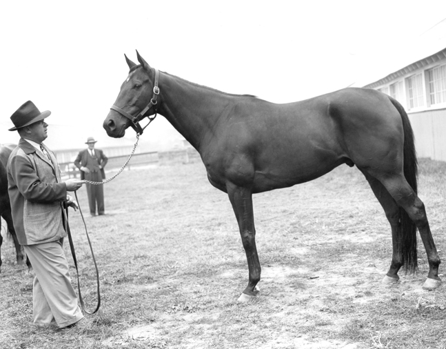 "Armed with Hall of Fame trainer H. A. ""Jimmy""Jones at Belmont Park, 1947 (Keeneland Library Morgan Collection/Museum Collection)"