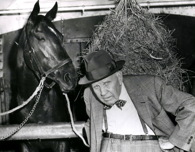 "Bold Ruler with trainer James ""Sunny Jim"" Fitzsimmons at Belmont in 1957 (Keeneland Library Morgan Collection/Museum Collection)"