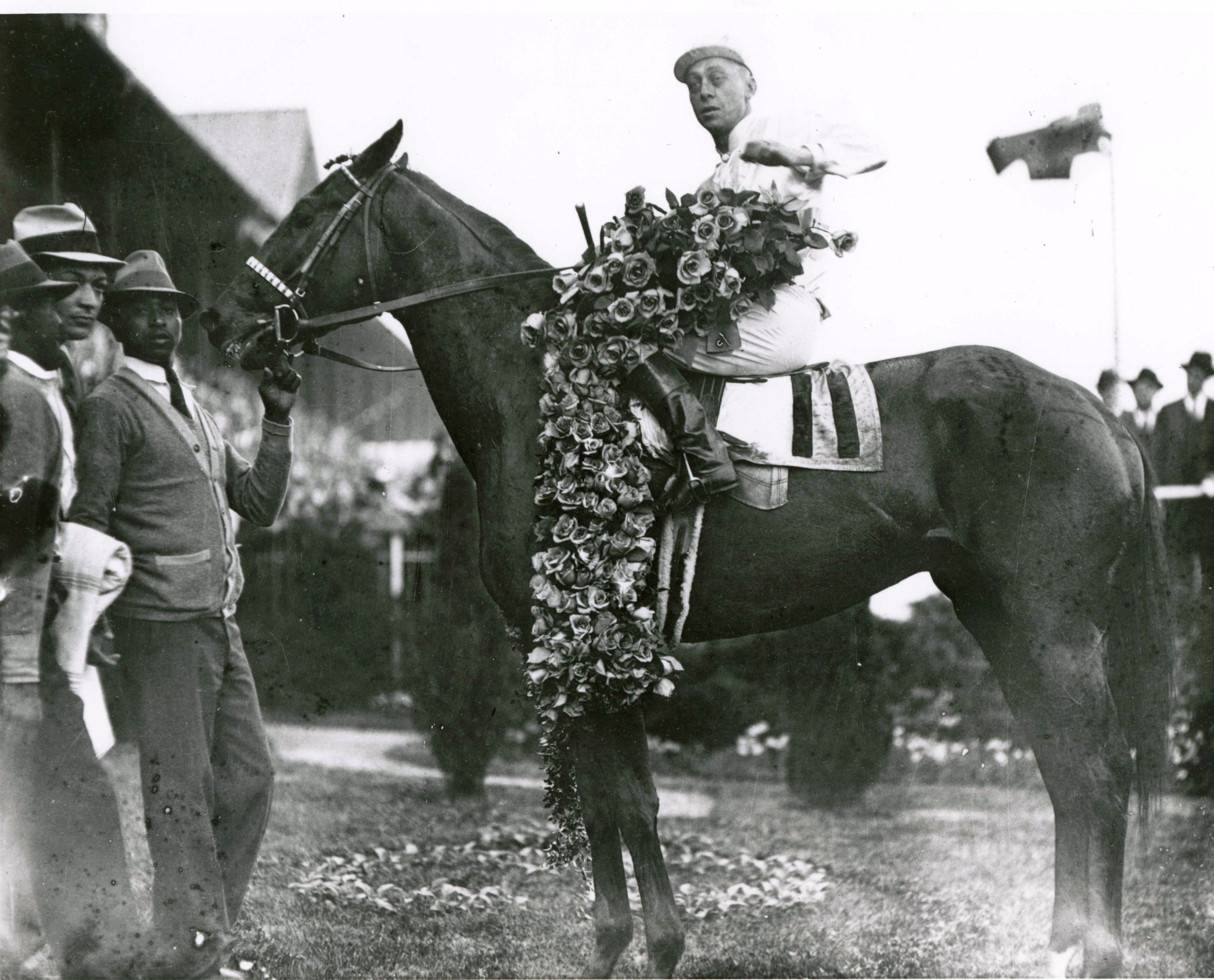 Cavalcade (Mack Garner up) in the winner's circle for the 1934 Kentucky Derby (Churchill Downs Inc./Kinetic Corp. /Museum Collection)