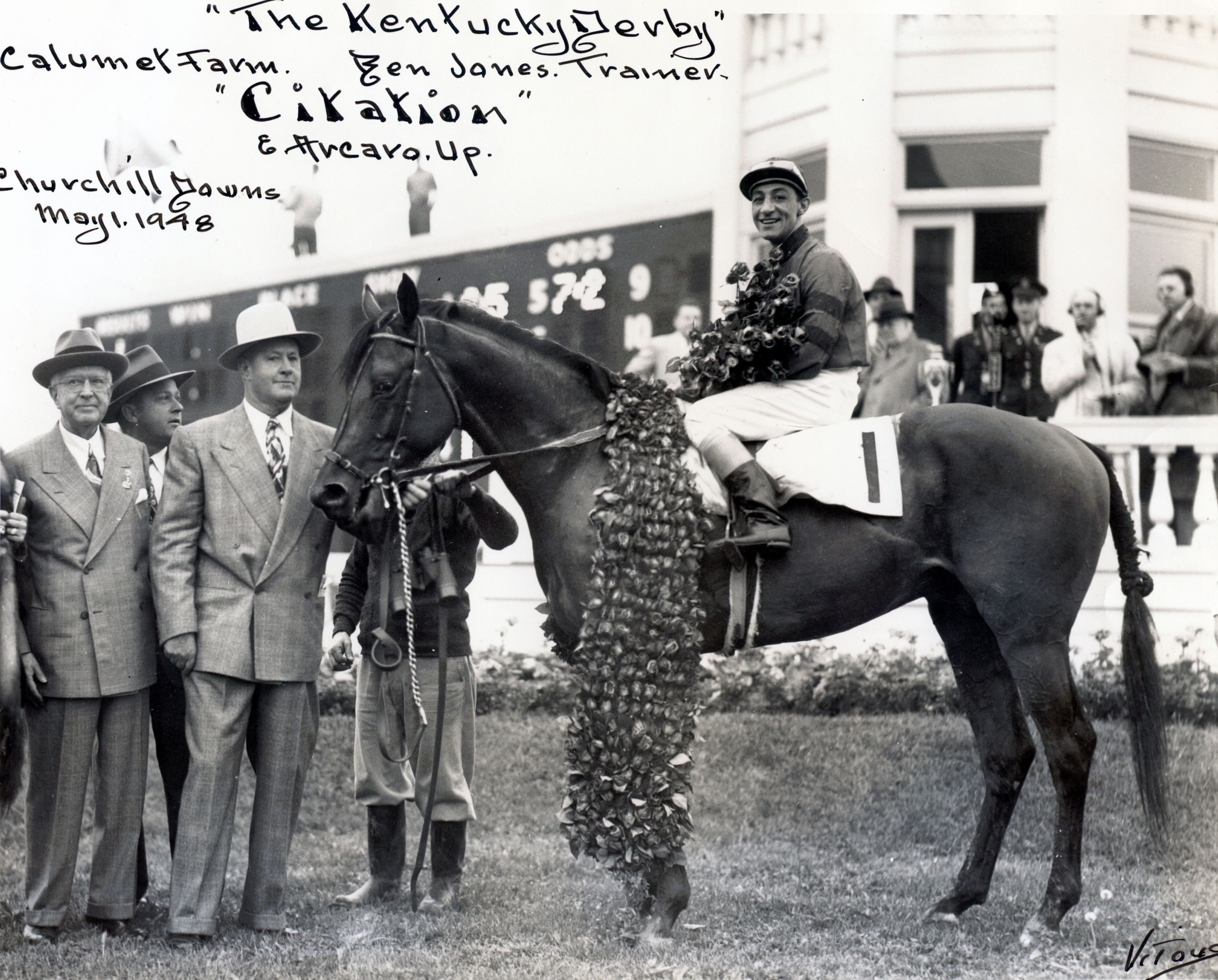 Winner's circle photo for the 1948 Kentucky Derby, won by Citation (Museum Collection)