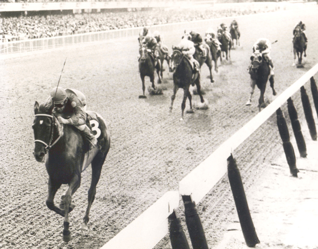 Dark Mirage (Manuel Ycaza up) wins the 1968 Acorn Stakes at Belmont Park (NYRA/Bob Coglianese /Museum Collection)