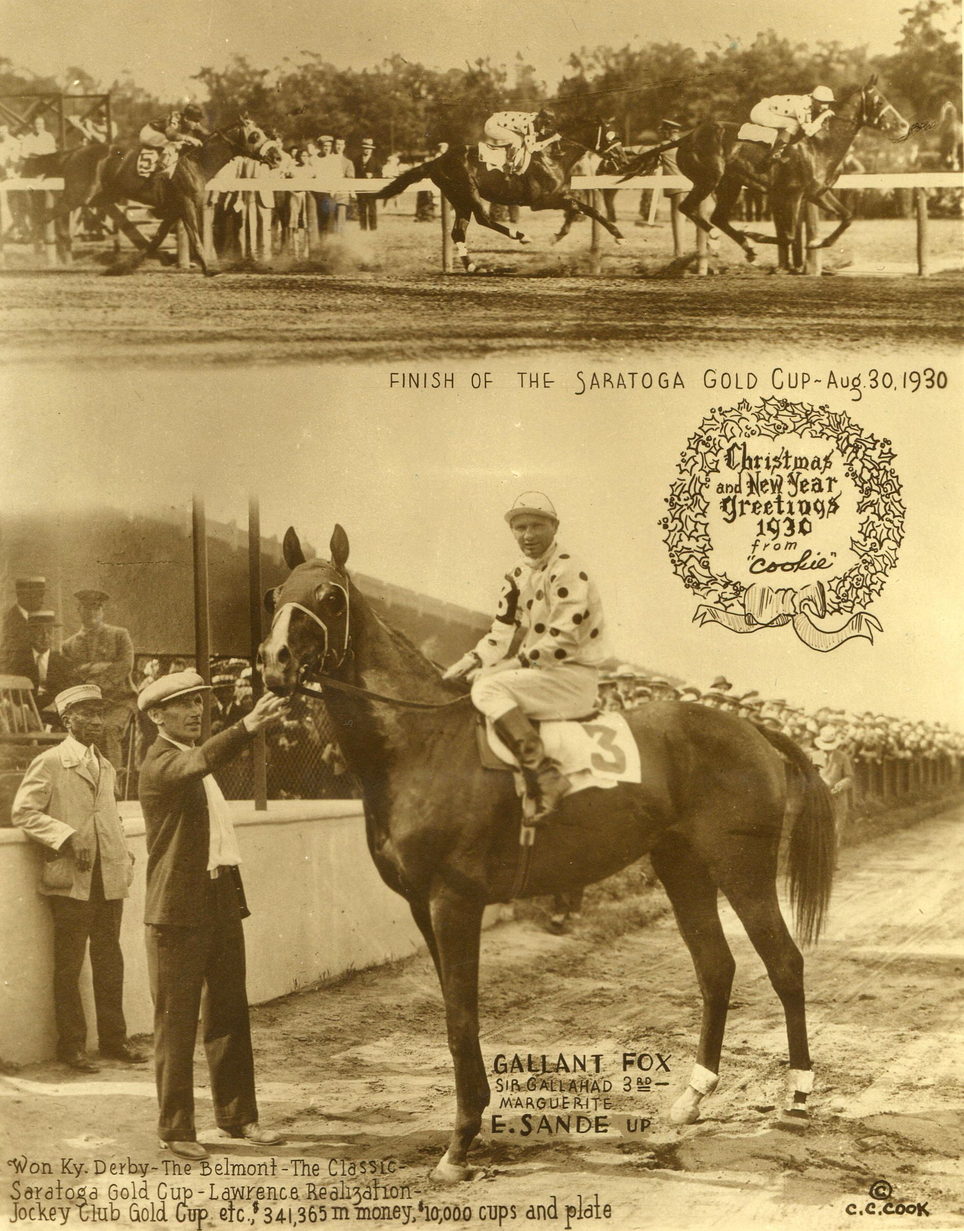 "The 1930 Saratoga Cup, won by Gallant Fox (Earl Sande up) featured in the annual ""Christmas Cookie"" greeting card produced by photographer C. C. Cook (C.C. Cook/Museum Collection)"
