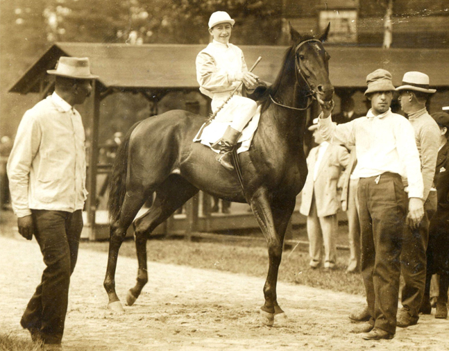 Old Rosebud (John McCabe up) walking over for the 1913 Flash Stakes at Saratoga (Museum Collection)