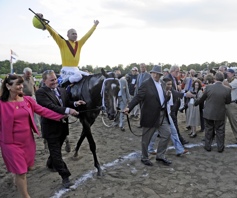 Rachel Alexandra after winning the 2009 Woodward Stakes, Calvin Borel up (Skip Dickstein)