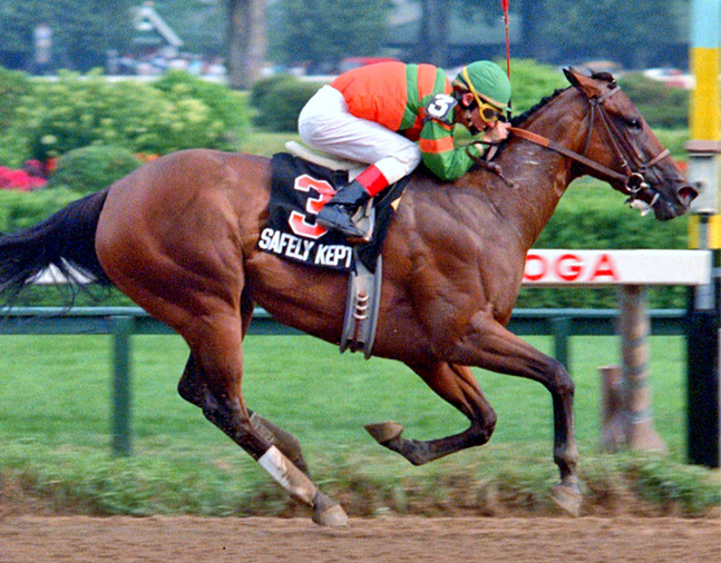 Safely Kept (Craig Perret up) winning the 1989 Test at Saratoga (NYRA)
