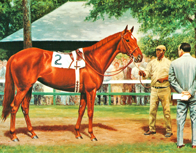 Painting of Shuvee in the Saratoga Paddock by Richard Stone Reeves (Museum Collection)