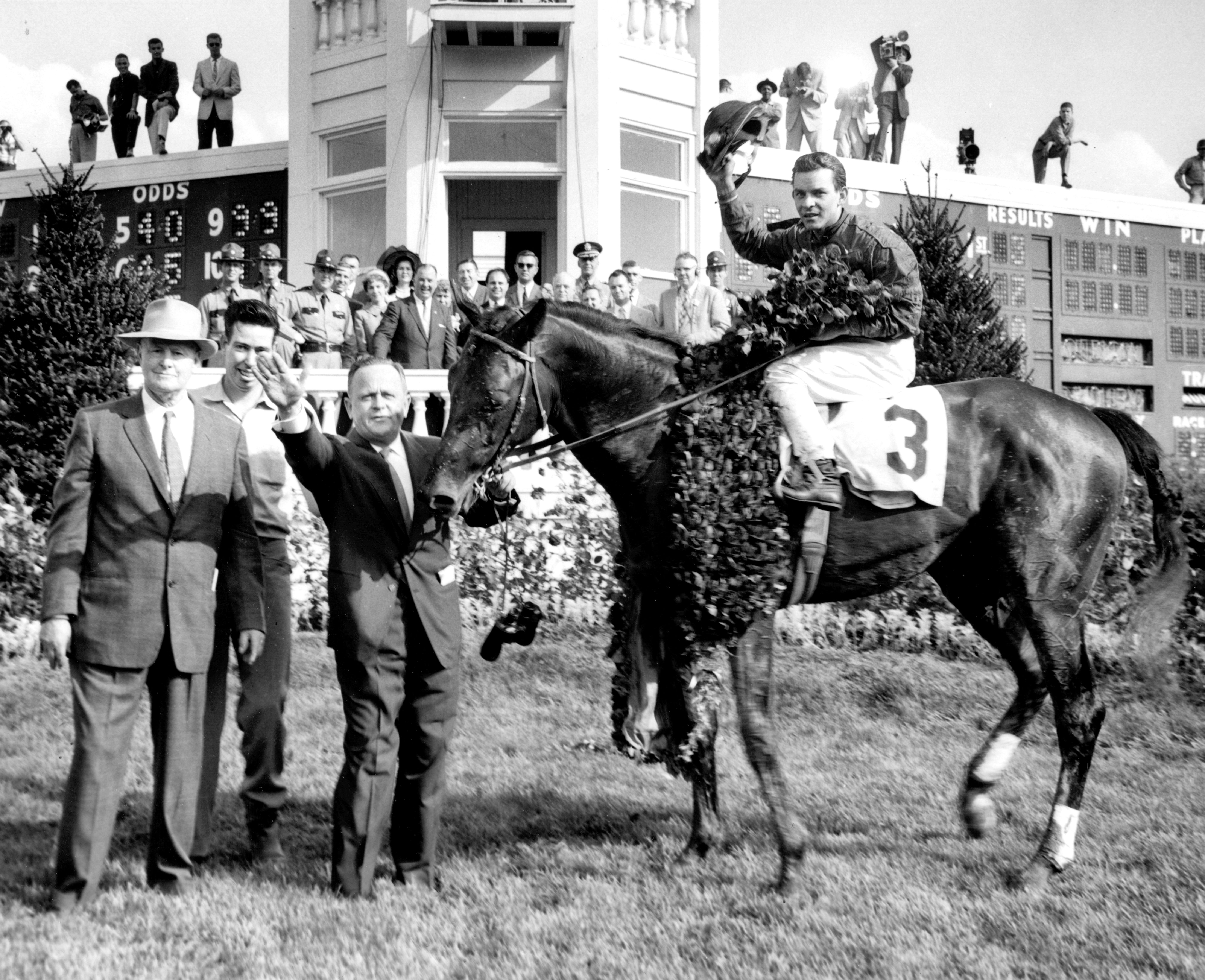 Tim Tam (Ismael Valenzuela up) in the 1958 Kentucky Derby winner's circle with Hall of Fame trainers Ben and Jimmy Jones (Museum Collection)