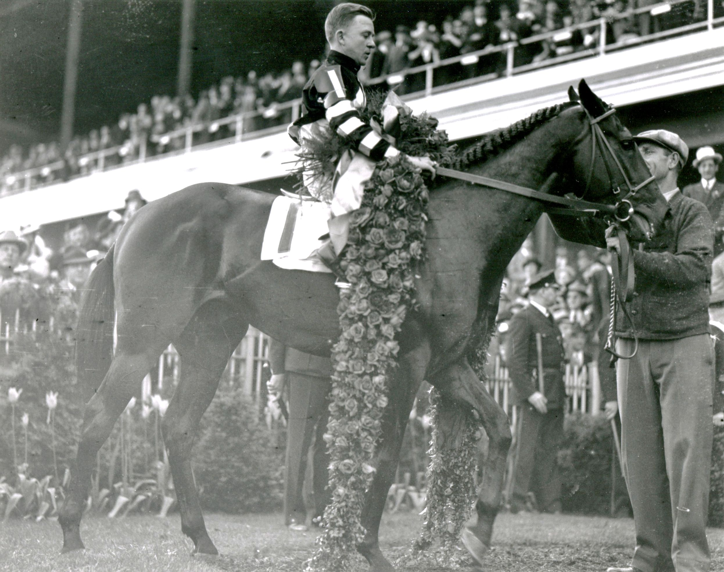 War Admiral (Charles Kurtsinger up) in the winner's circle for the 1937 Kentucky Derby (Churchill Downs Inc./Kinetic Corp. /Museum Collection)