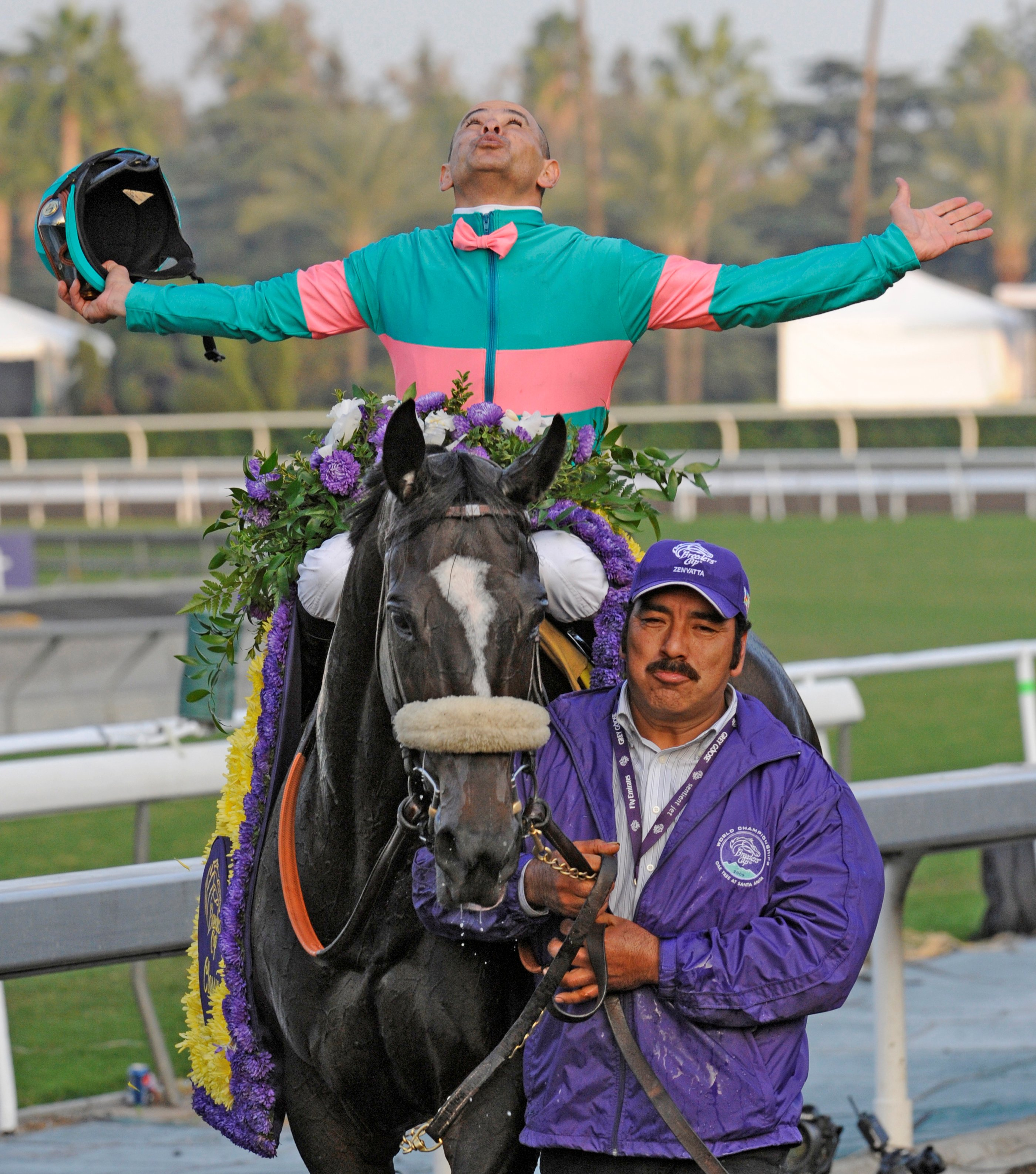 Zenyatta (Mike Smith up) after winning the 2009 Breeders' Cup Classic at Santa Anita (Skip Dickstein)