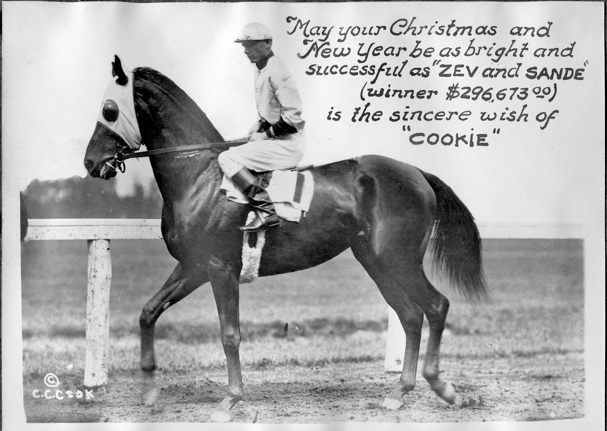 """Zev (Earl Sande up) featured in a """"Christmas Cookie"""" greeting card produced by photographer C. C. Cook (C. C. Cook/Museum Collection)"""