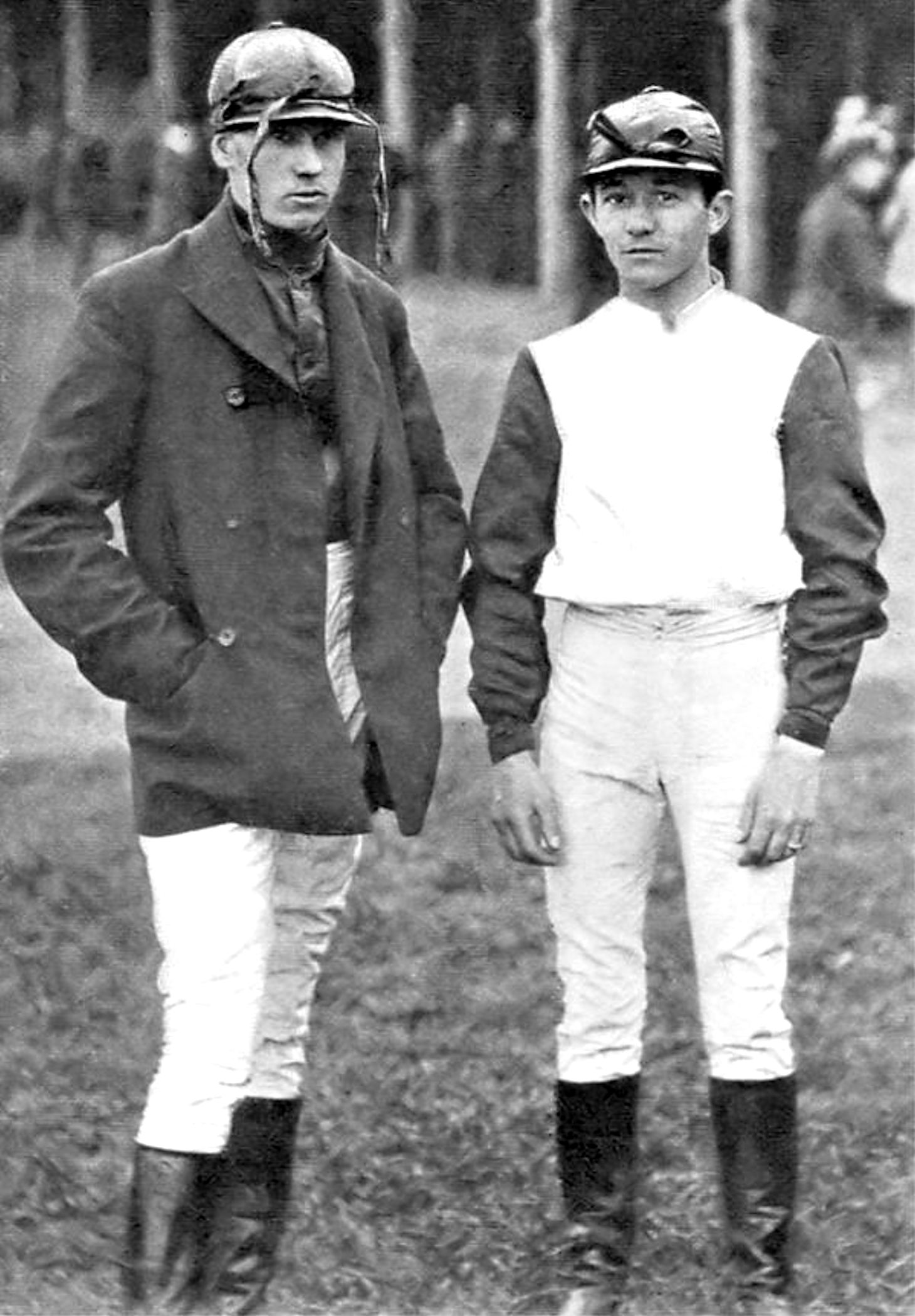 "Henry ""Skeets"" Martin, left and Tod Sloan in 1899 at Morris Park Racetrack (from Munsey's Magazine) (Public Domain)"