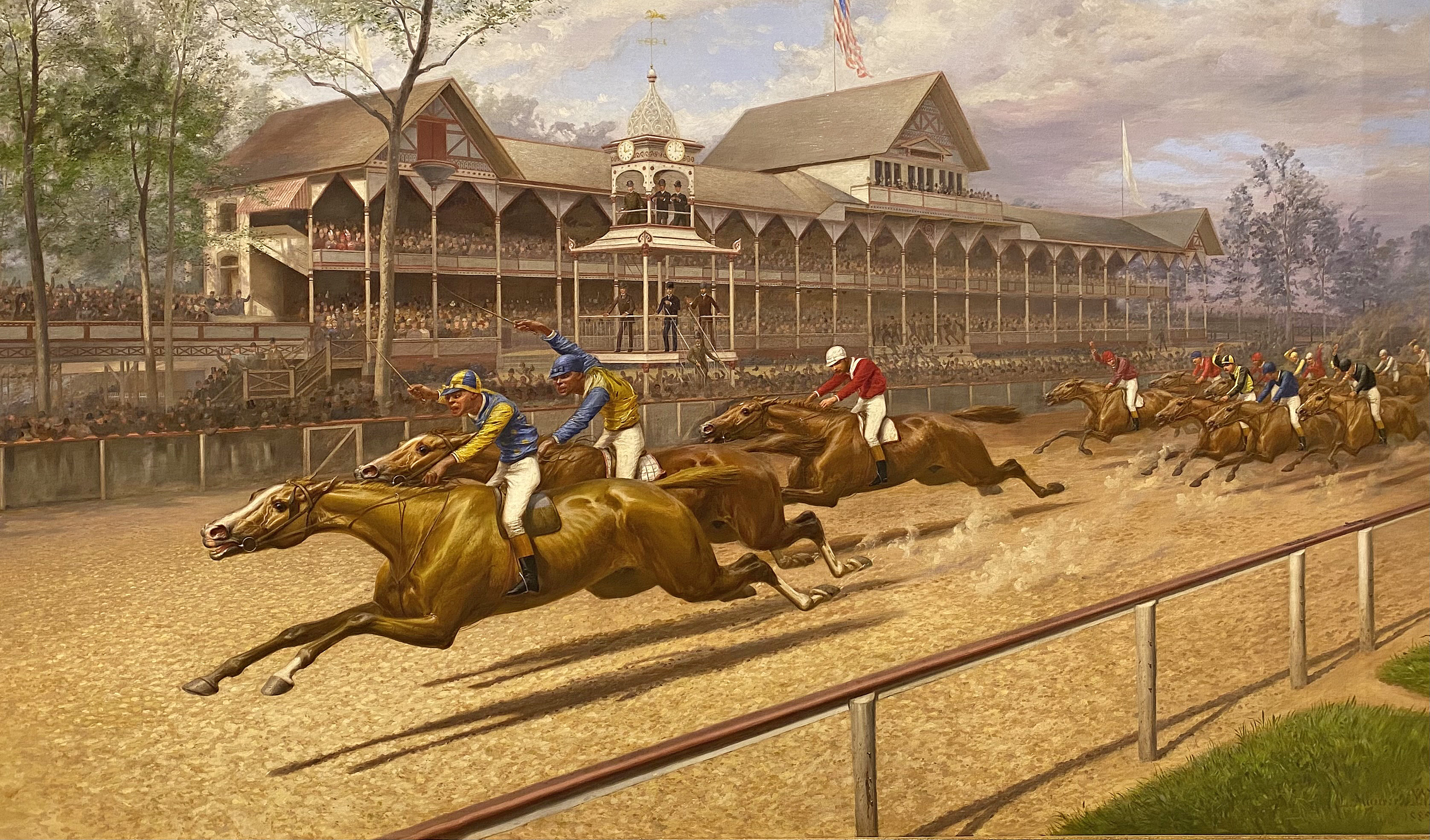 """First Futurity by L. Maurer, 1889: Proctor Knott with Shelby """"Pike"""" Barnes in front winning the race (Museum Collection)"""