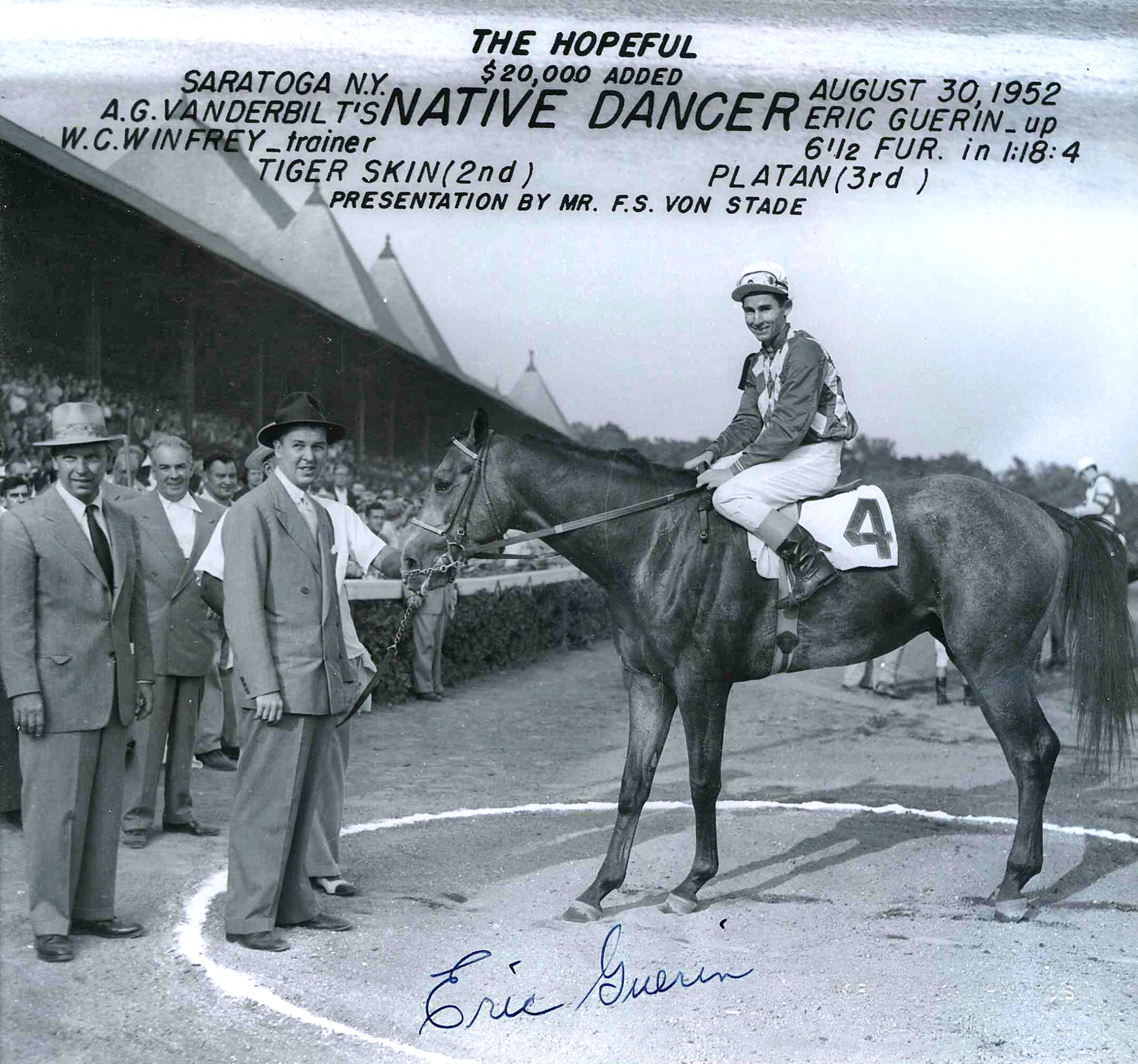 Eric Guerin aboard Native Dancer, 1952 Hopeful Stakes (Museum Collection)