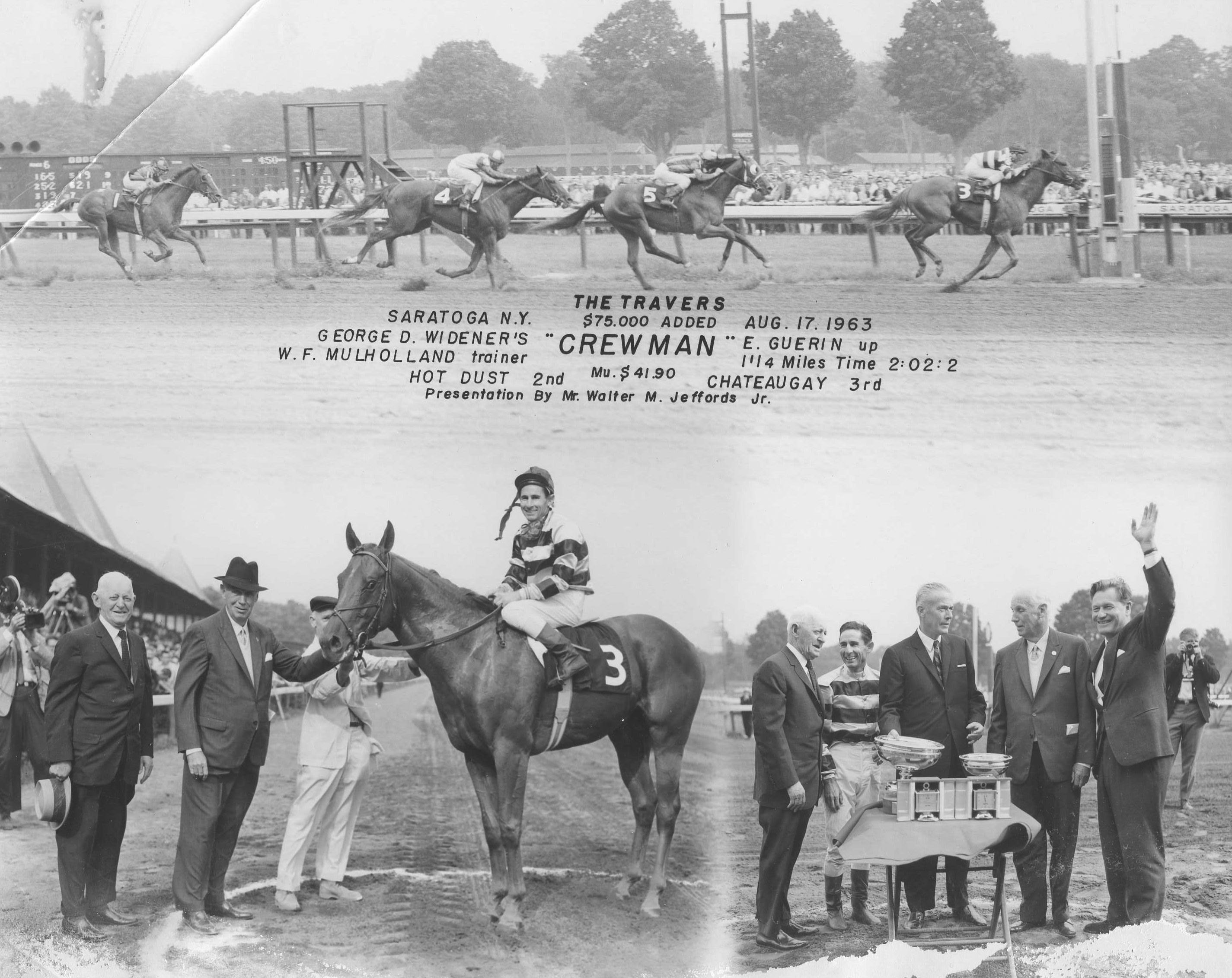 Win composite photograph for the 1963 Travers Stakes at Saratoga, won by Crewman with Eric Guerin up (NYRA/Museum Collection)