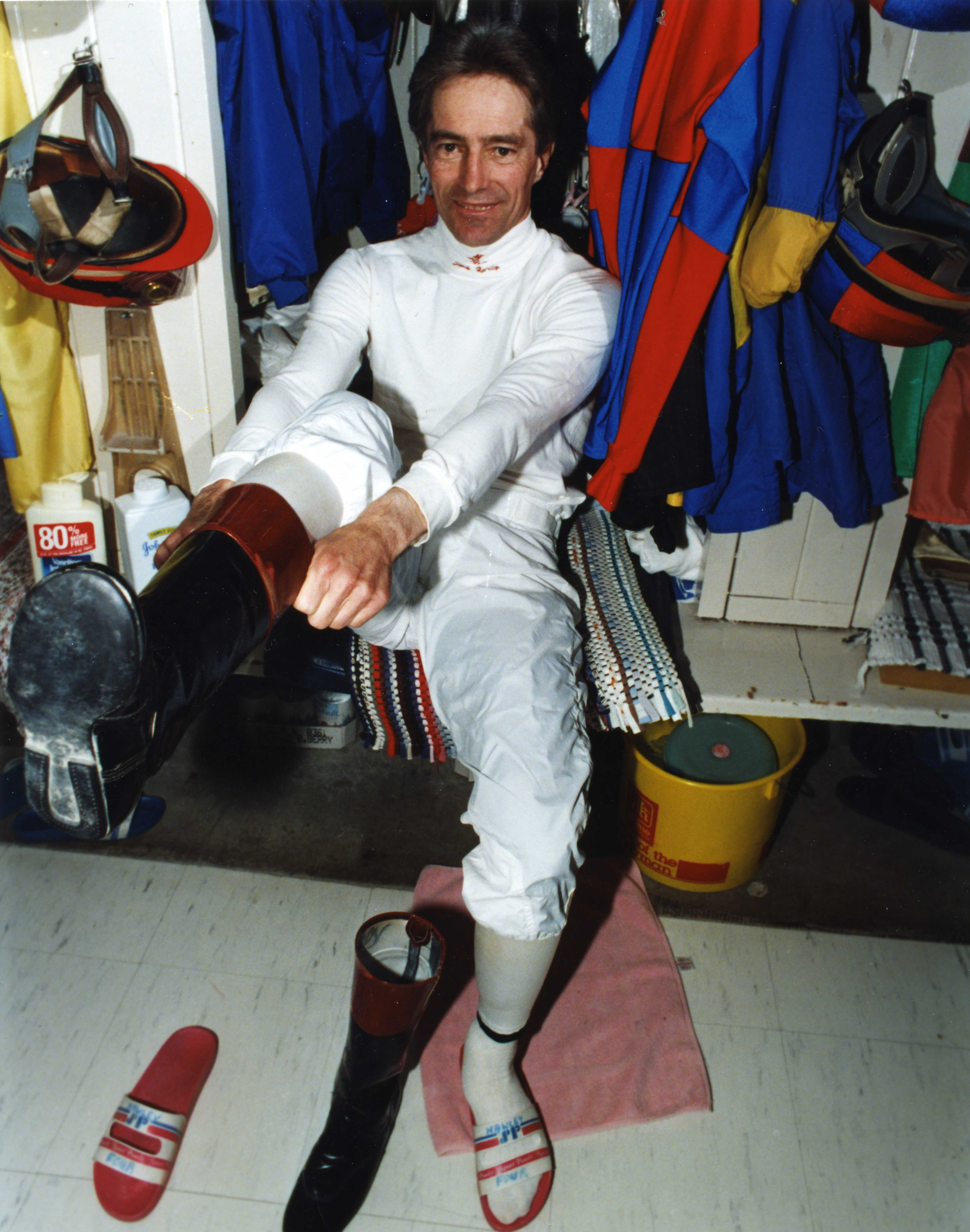 Sandy Hawley in the jock's room (Michael Burns/Museum Collection)