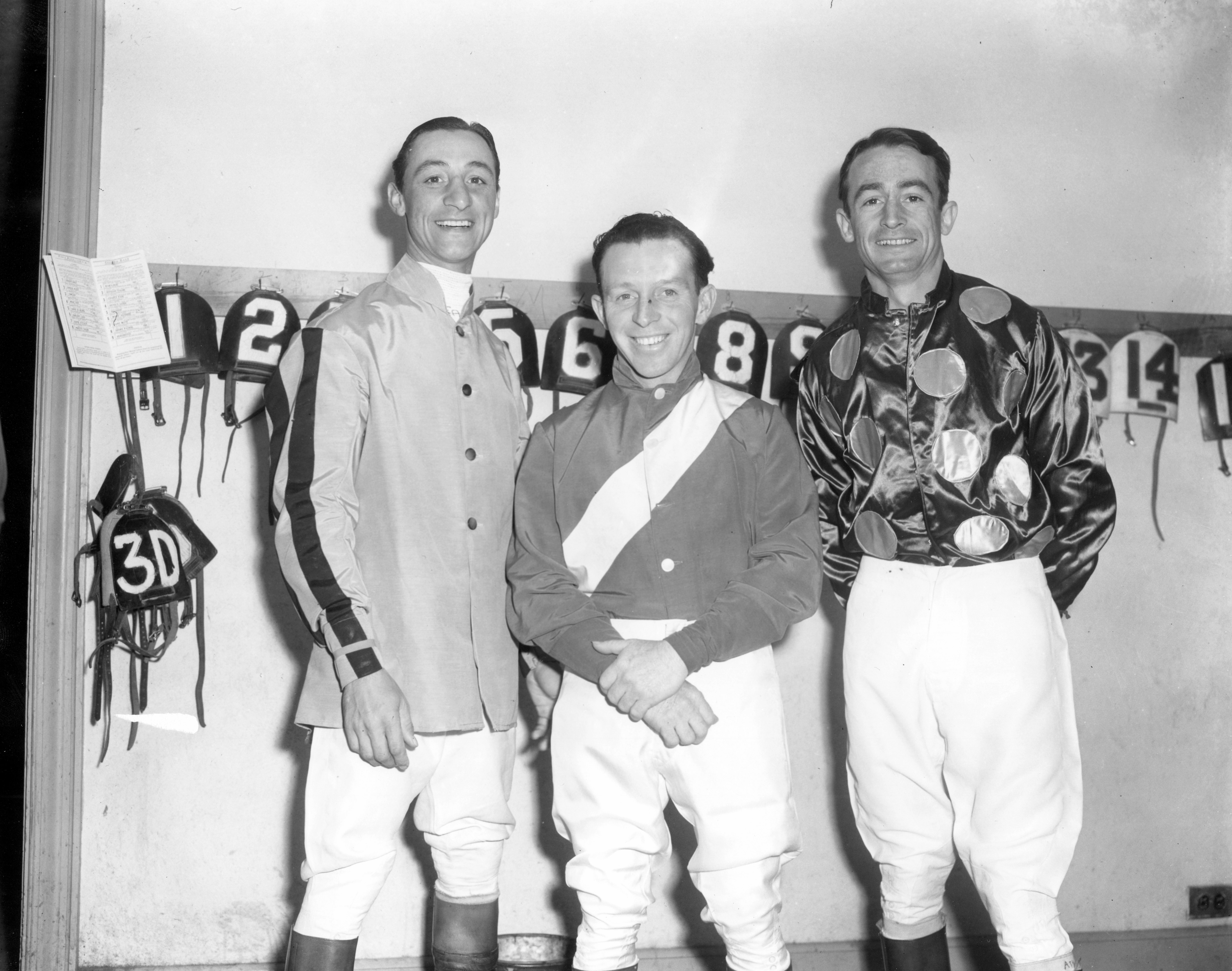 Eddie Arcaro, John Adams, and Ted Atkinson in the jock's room (Keeneland Library Morgan Collection/Museum Collection)