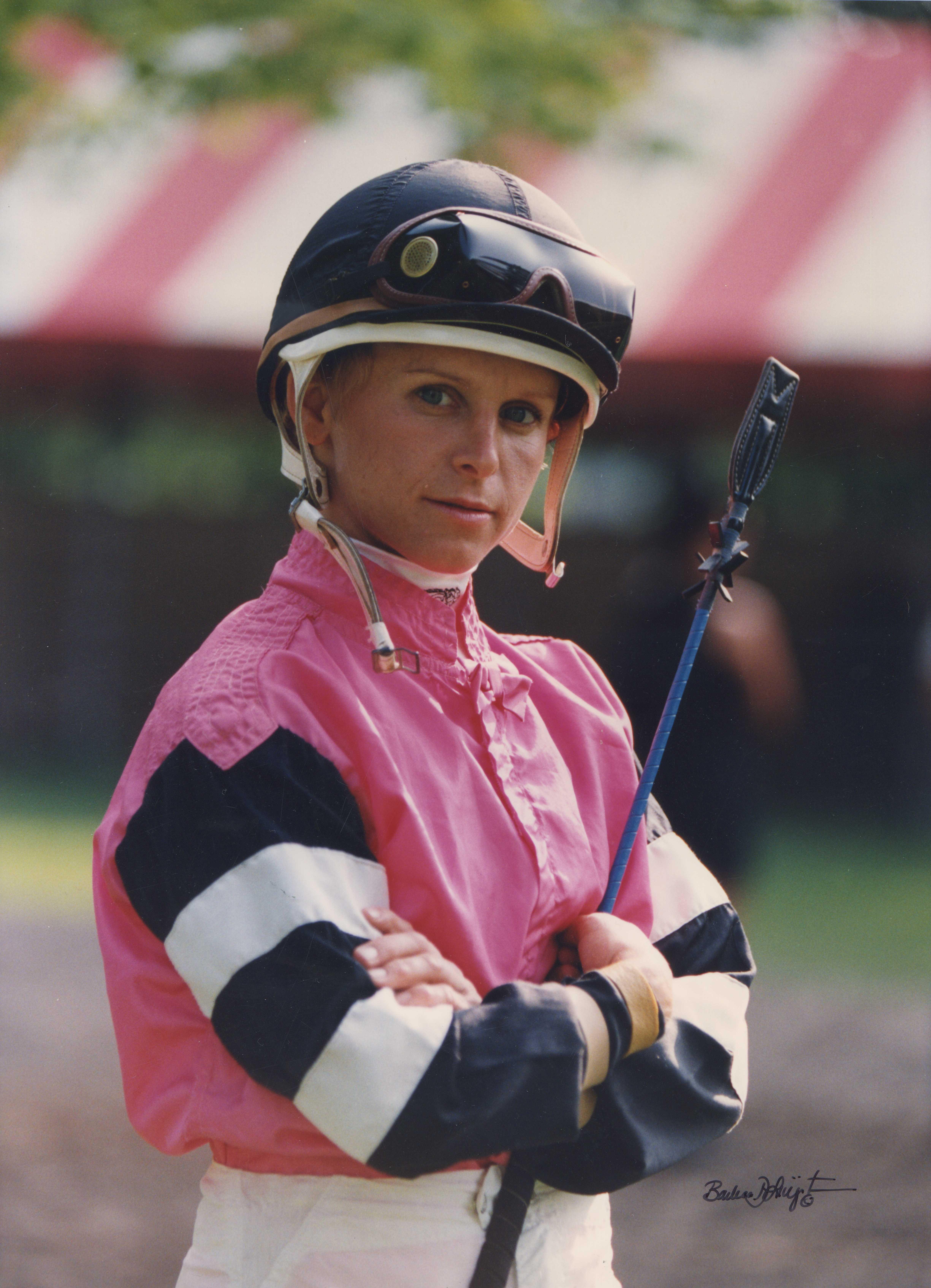 Julie Krone at Saratoga in August 1994 (Barbara D. Livingston)