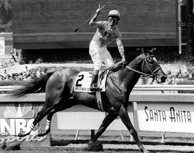 Alex Solis and Brother Derek winning the 2006 Santa Anita Derby (Bill Mochon/Museum Collection)