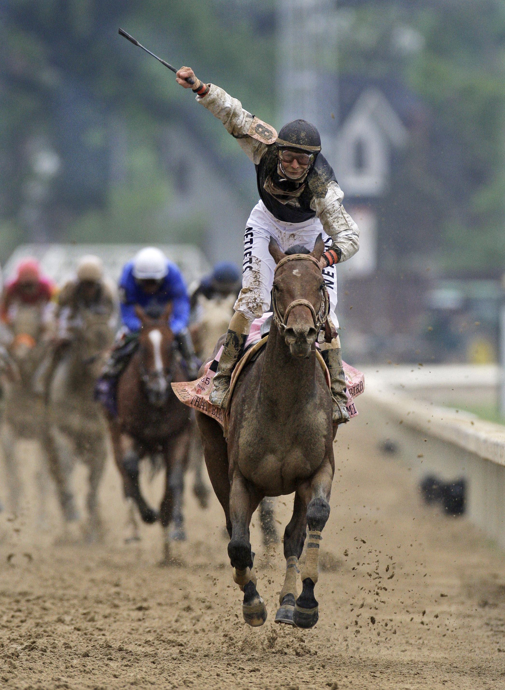 Calvin Borel celebrates winning the 2009 Kentucky Derby aboard Mine That Bird at Churchill Downs (Associated Press Photo)