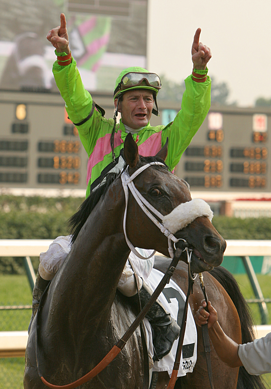 Calvin Borel celebrates winning the 2006 Stephen Foster at Churchill Downs aboard Seek Gold (Churchill Downs)
