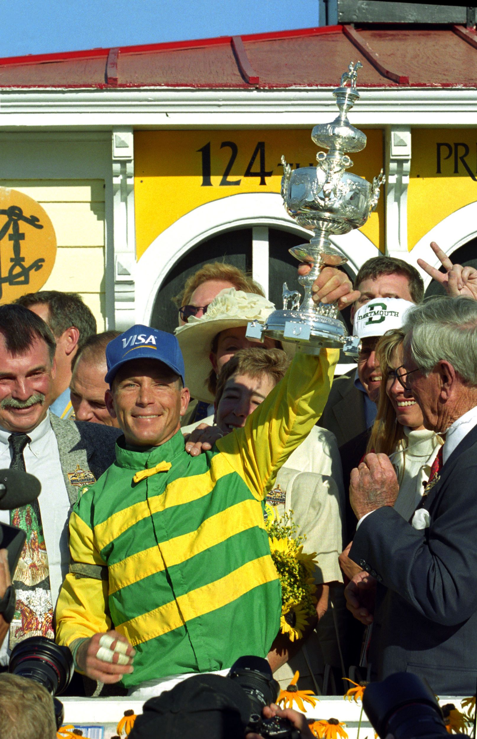 Chris Antley celebrates winning the 1999 Preakness Stakes with Charismatic (Barbara D. Livingston)