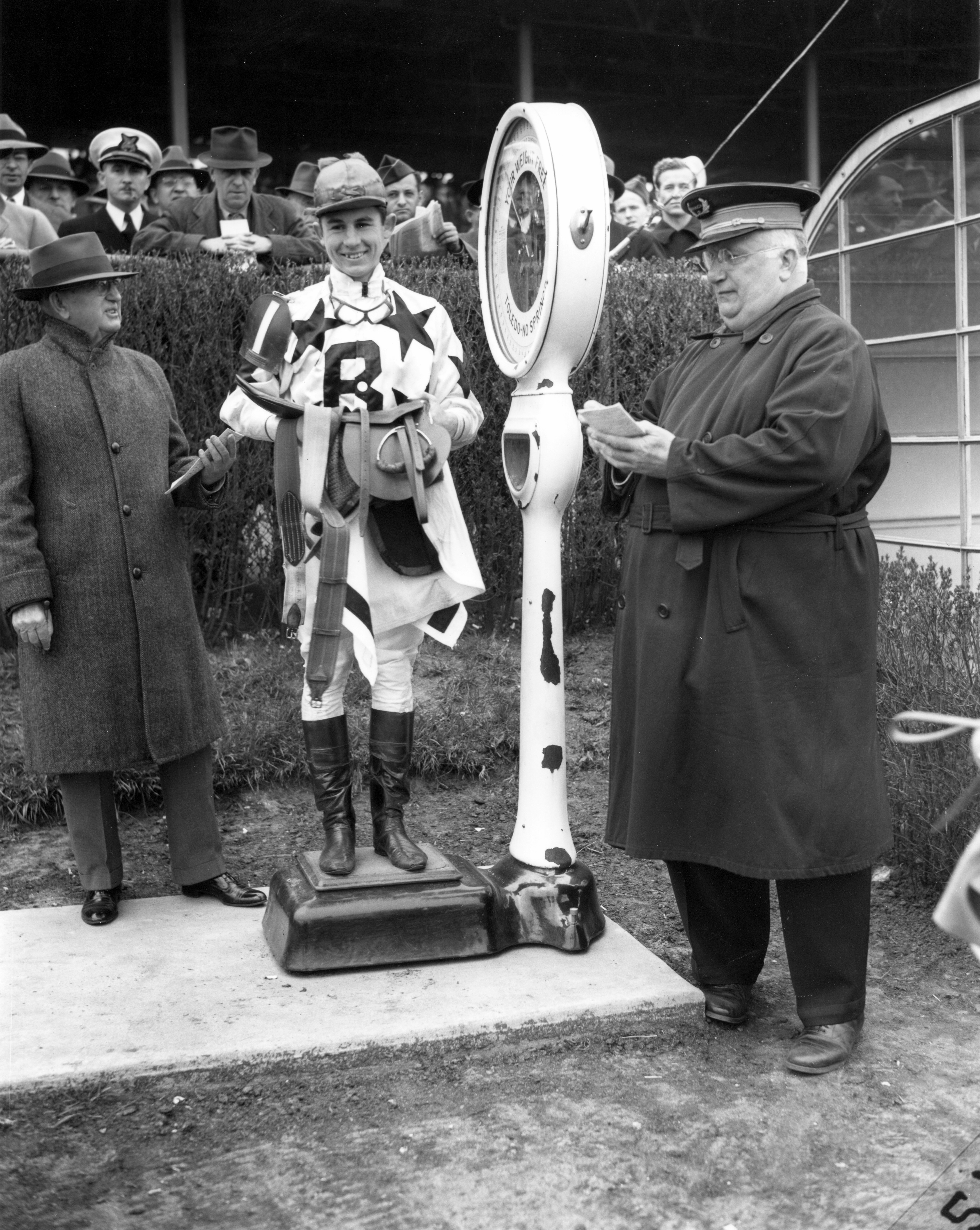 Eric Guerin weighing in at Jamaica, May 1944 (Keeneland Library Morgan Collection/Museum Collection)