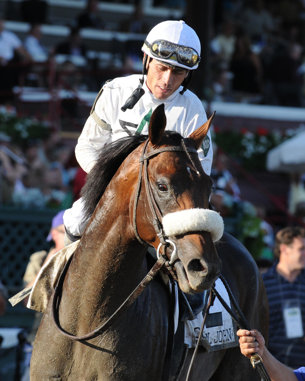 Garrett Gomez aboard Colonel John, 2008 Travers Stakes (NYRA)