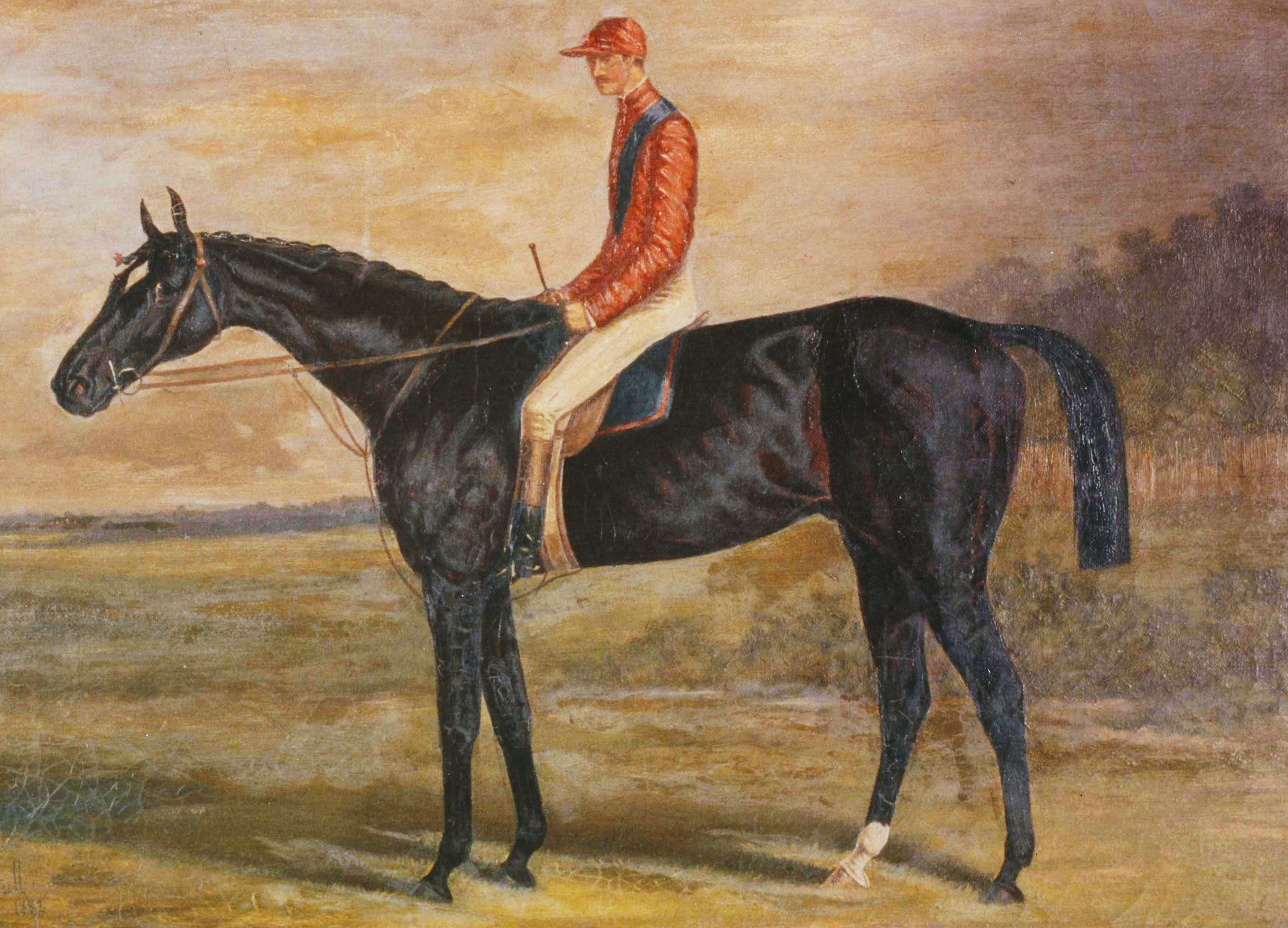 Photograph of a Henry Stull painting of Hindoo with James McLaughlin up  (Museum Collection)