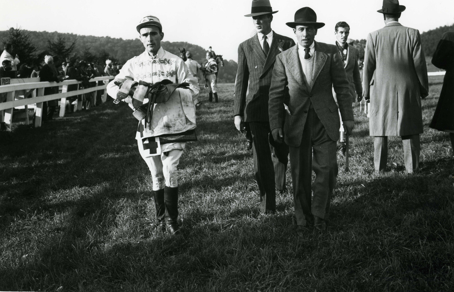 Frank Dooley Adams after the 1947 Rolling Rock Hunt Cup (Keeneland Library Morgan Collection/Museum Collection)