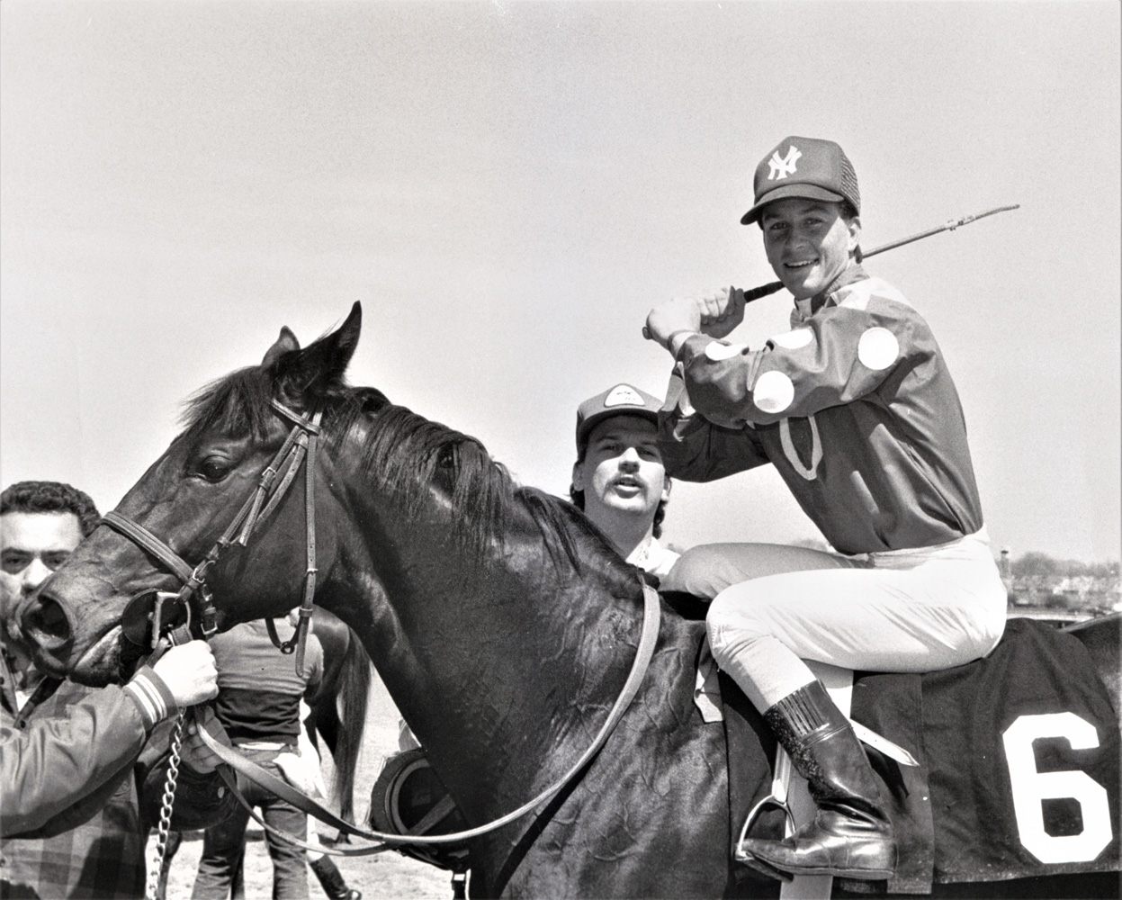 Chris Antley (aboard Clown's Appeal) celebrating 56 consecutive days with at least one win at a New York track (NYRA)