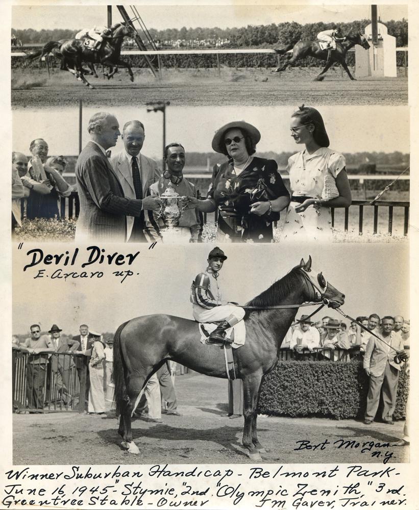 Win composite photograph for the 1945 Suburban Handicap, won by Devil Diver (Eddie Arcaro up) (Bert Morgan/Museum Collection)