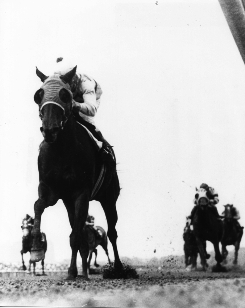 Walter Blum and Affectionately winning the 1965 Liberty Belle Handicap at Aqueduct (The BloodHorse/Museum Collection)