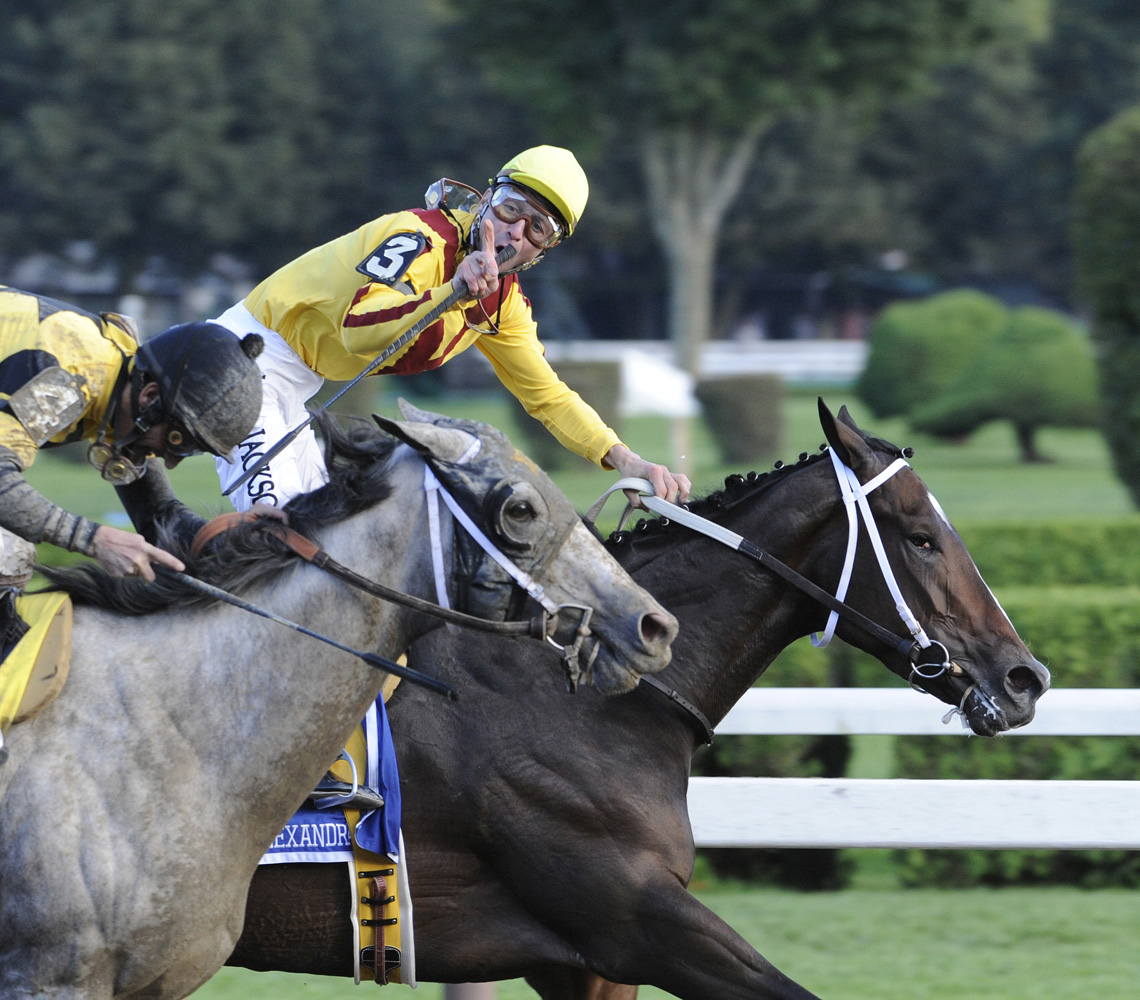 Calvin Borel and Rachel Alexandra with their historic win in the 2009 Woodward at Saratoga (Skip Dickstein)