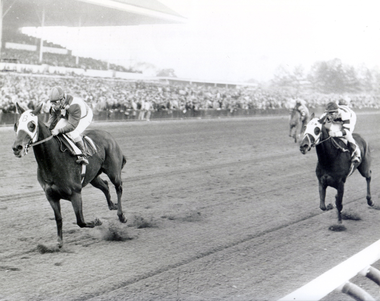 Sam Boulmetis and Tosmah winning the 1964 Jersey Belle at Garden State Park (Jim Raftery Turfotos/Museum Collection)