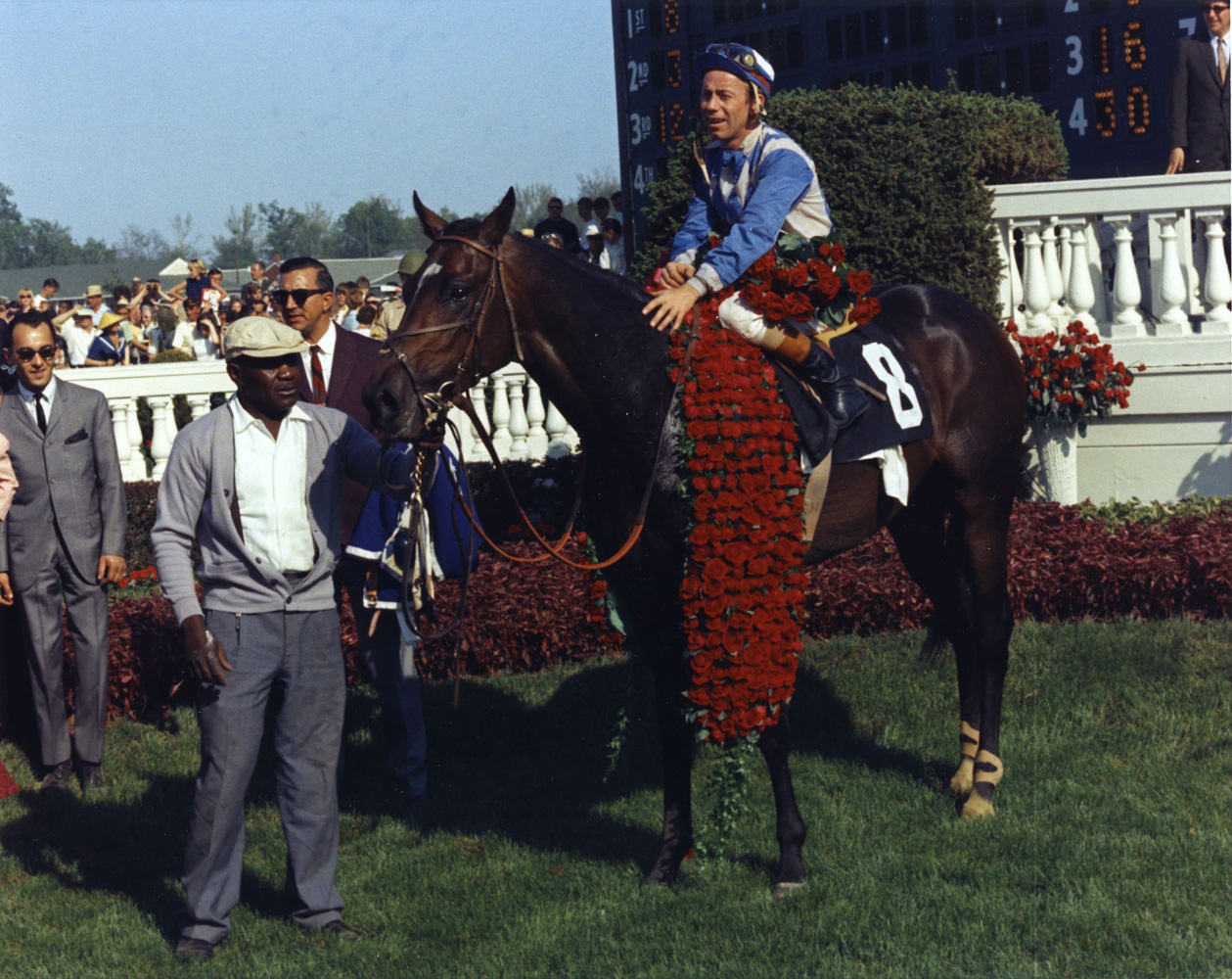 Don Brumfield and Kauai King in the winner's circle for the 1966 Kentucky Derby (Churchill Downs Inc./Kinetic Corp. /Museum Collection)