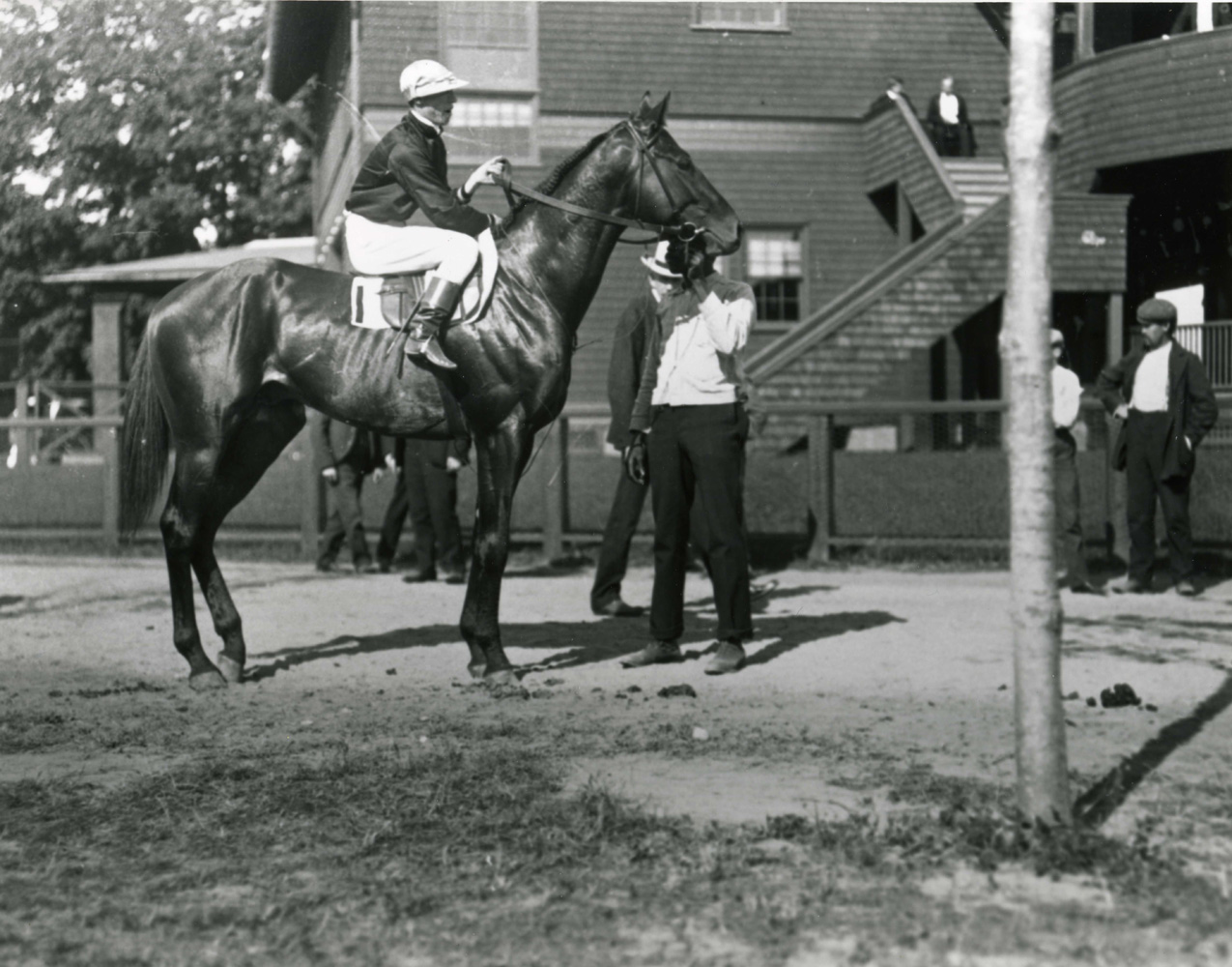 Thomas Burns and Broomstick before the 1904 Travers at Saratoga (Keeneland Library Cook Collection/Museum Collection)