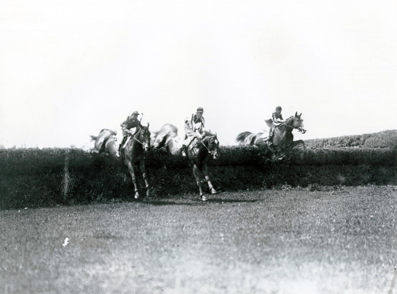J. Dallet Byers and Fairmount (center) clearing a jump in the 1938 Charles Appleton Memorial Cup at Belmont (Keeneland Library Cook Collection)
