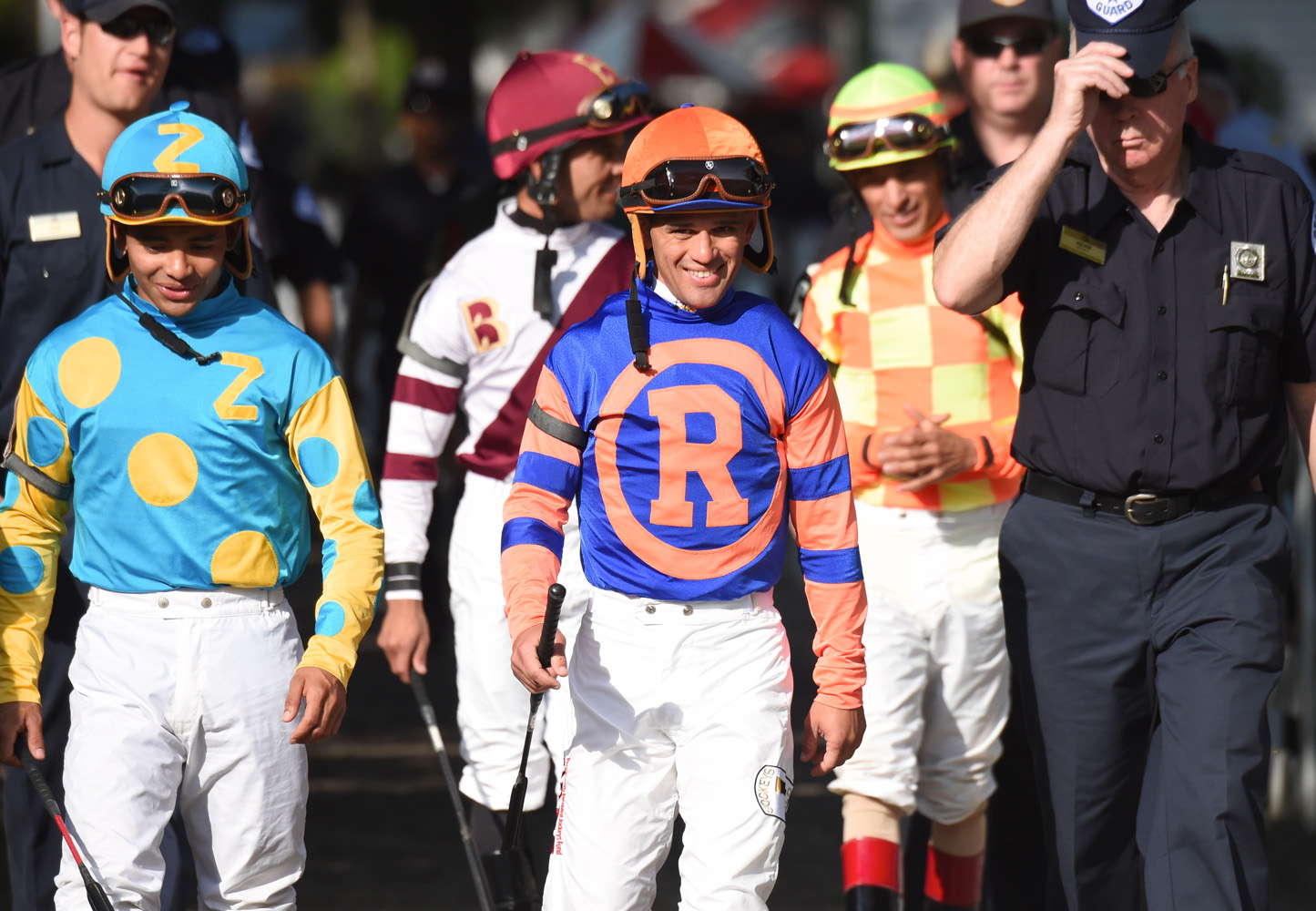 Javier Castellano entering the Saratoga paddock with the rest of the jockey colony in 2019 (Bob Mayberger)