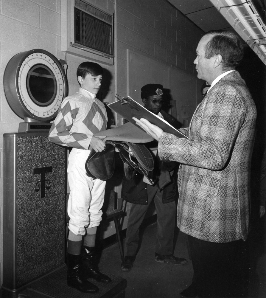 Steve Cauthen as an apprentice jockey, weighing out at Aqueduct (Bob Coglianese/Museum Collection)