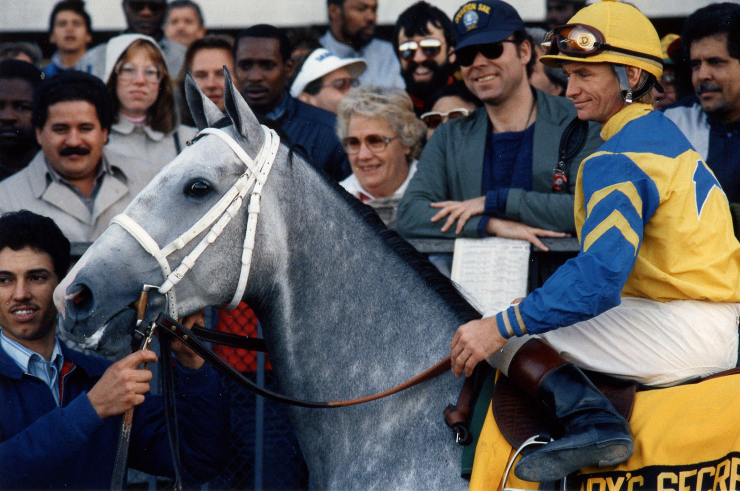 Pat Day and Lady's Secret in the winner's circle at Belmont Park in 1986 for Lady's Secret Day (Barbara D. Livingston/Museum Collection)