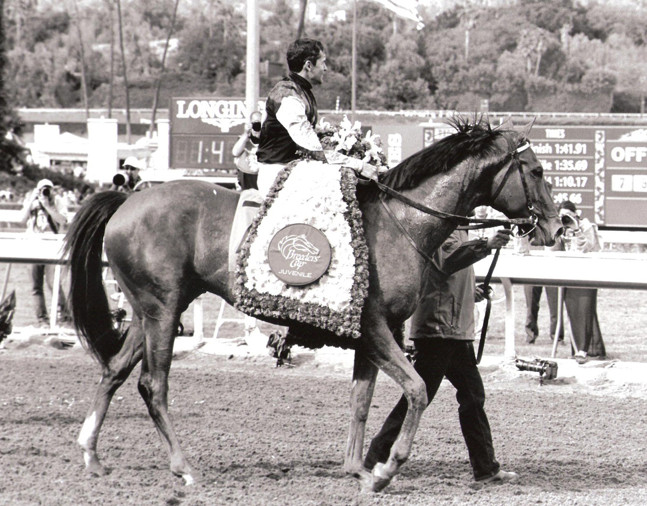 Kent Desormeaux and Texas Red after winning the 2014 Breeders' Cup Juvenile (Bill Mochon/Museum Collection)