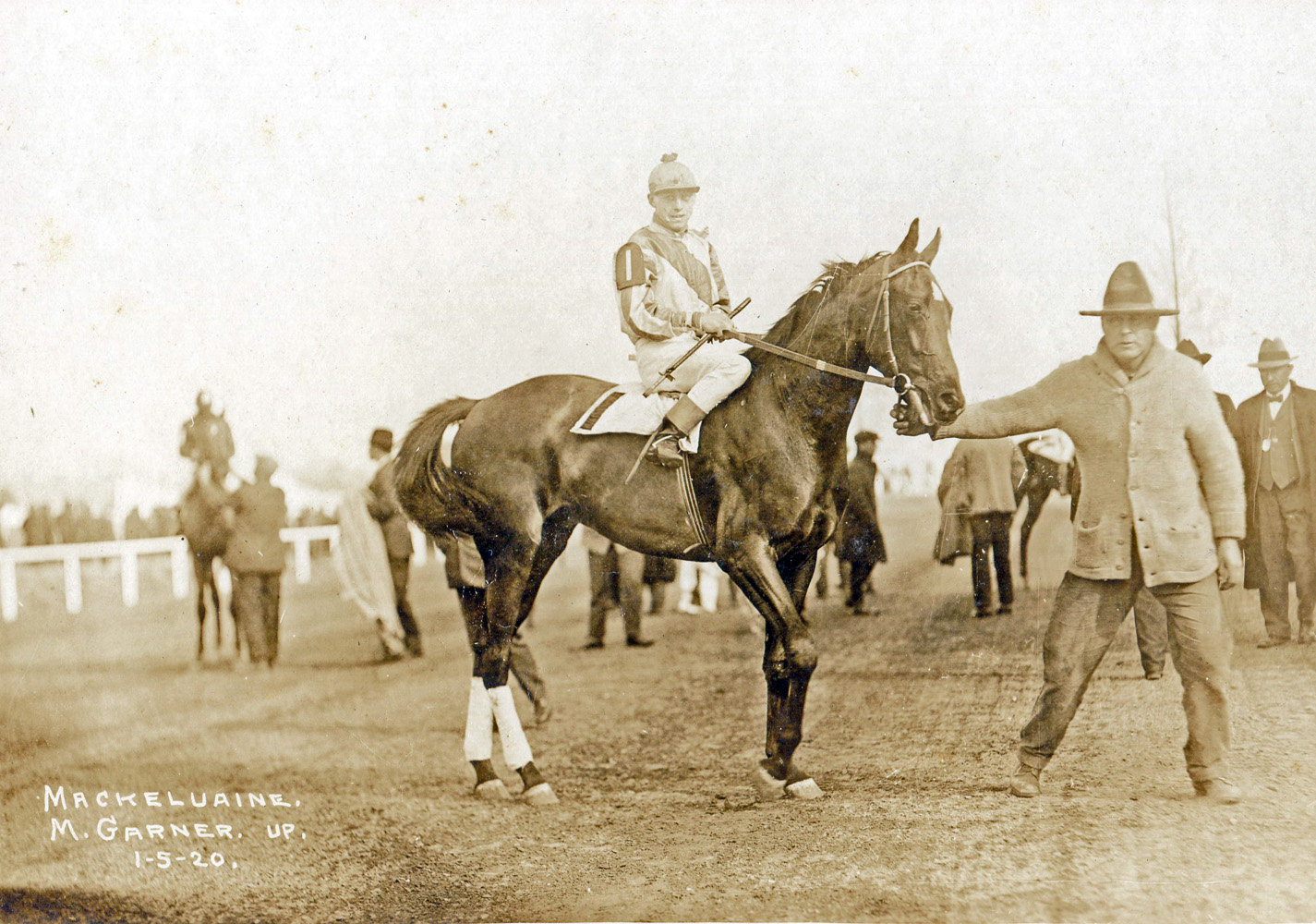 Mack Garner and Mackelvaine in the winner's circle at New Orleans (Museum Collection)