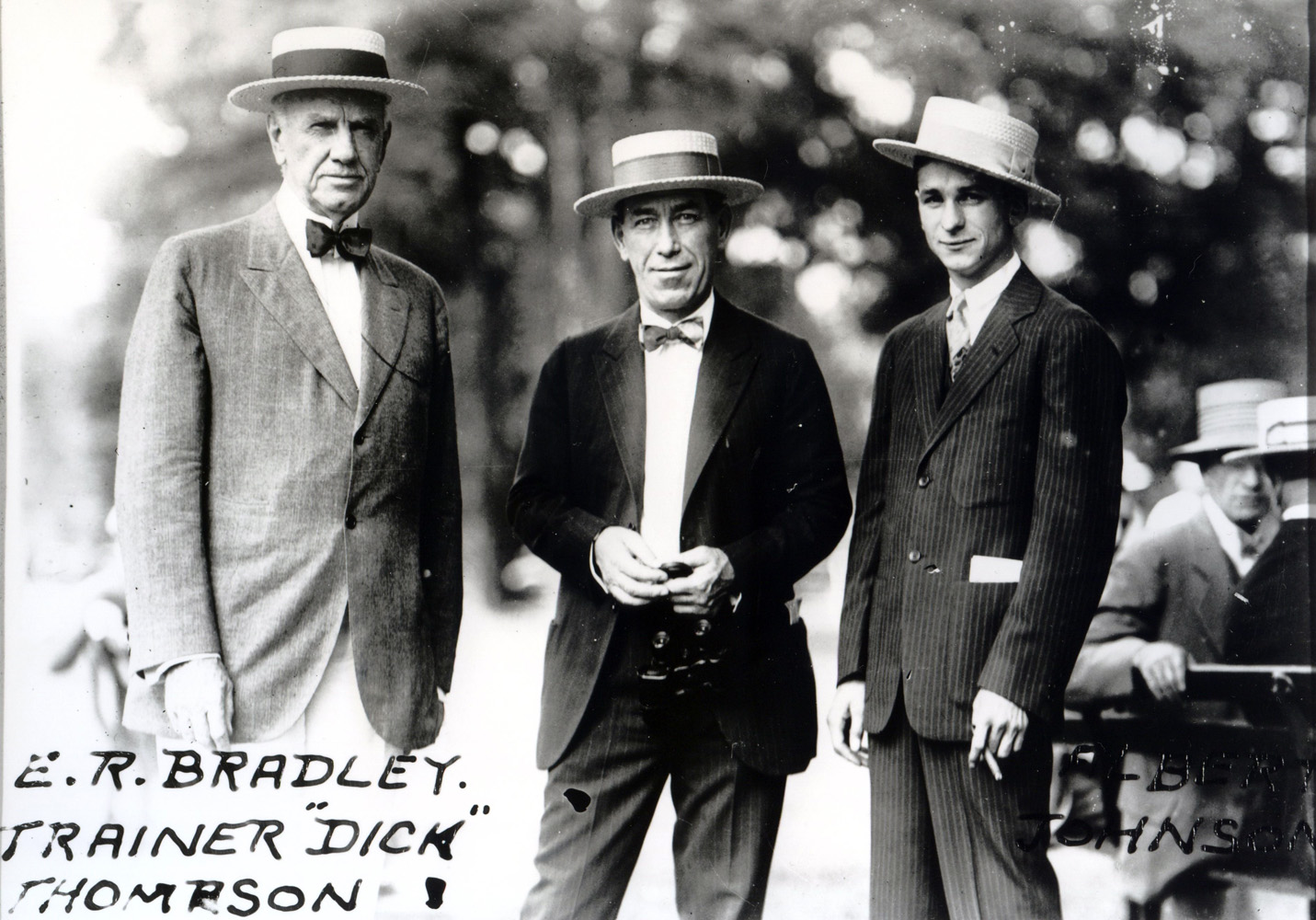 E. R. Bradley, Dick Thompson, and Albert Johnson in the paddock (Keeneland Library Cook Collection/Museum Collection)