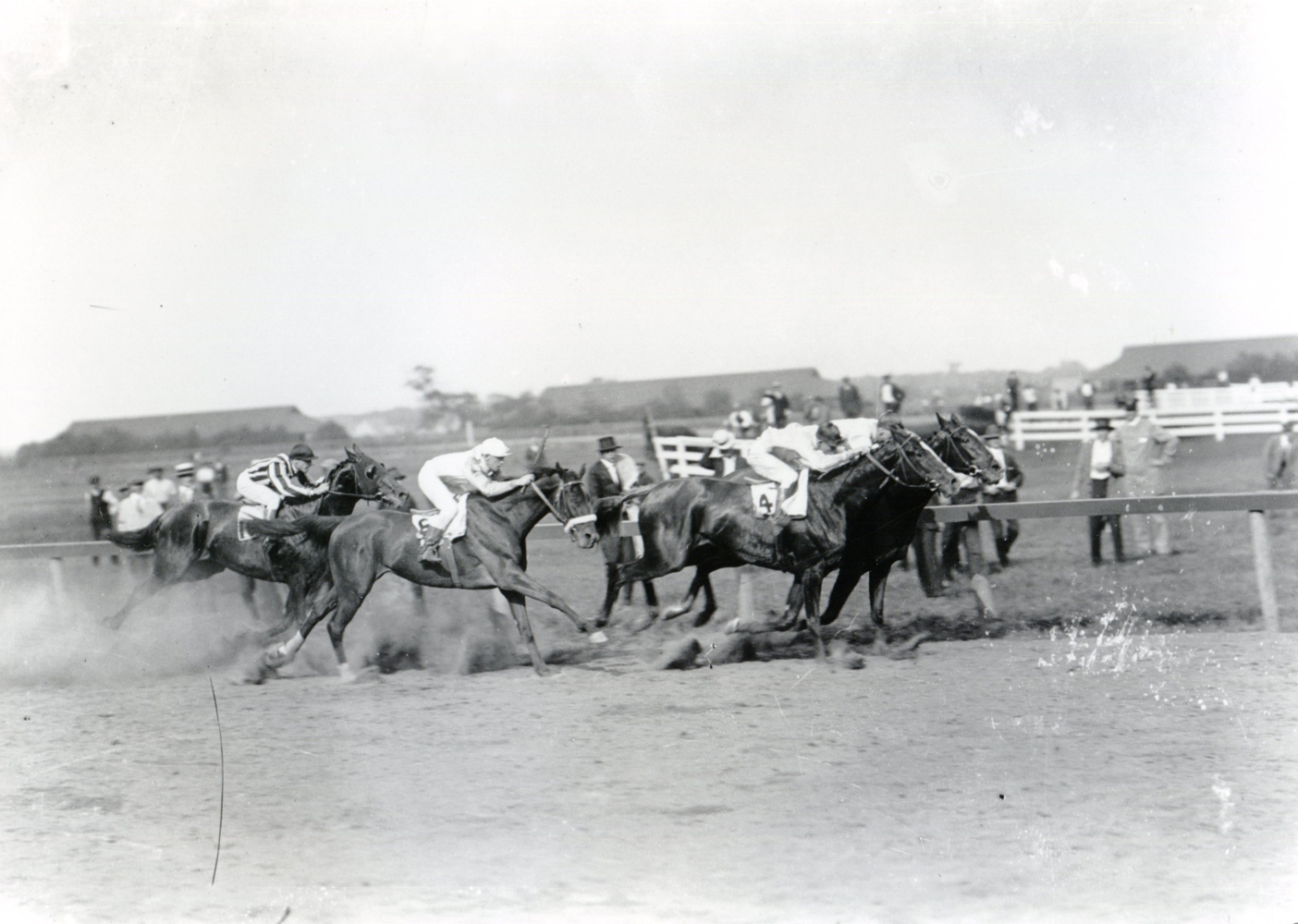 Willie Knapp and Borrow winning the 1917 Brooklyn Handicap at Aqueduct (Keeneland Library Cook Collection/Museum Collection)