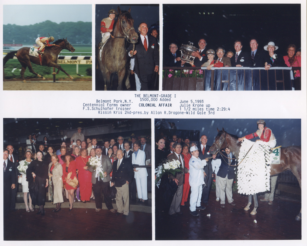 Win composite from the 1993 Belmont Stakes, won by Julie Krone and Colonial Affair (NYRA/Museum Collection)