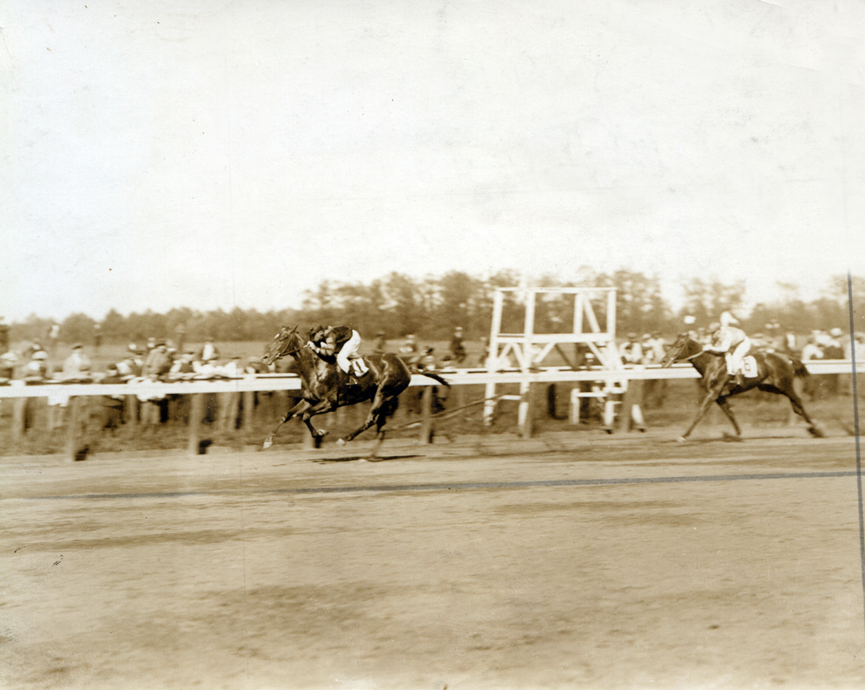 John Loftus and Man o' War defeating John P. Grier in the 1919 Belmont Futurity (C. C. Cook/Museum Collection)