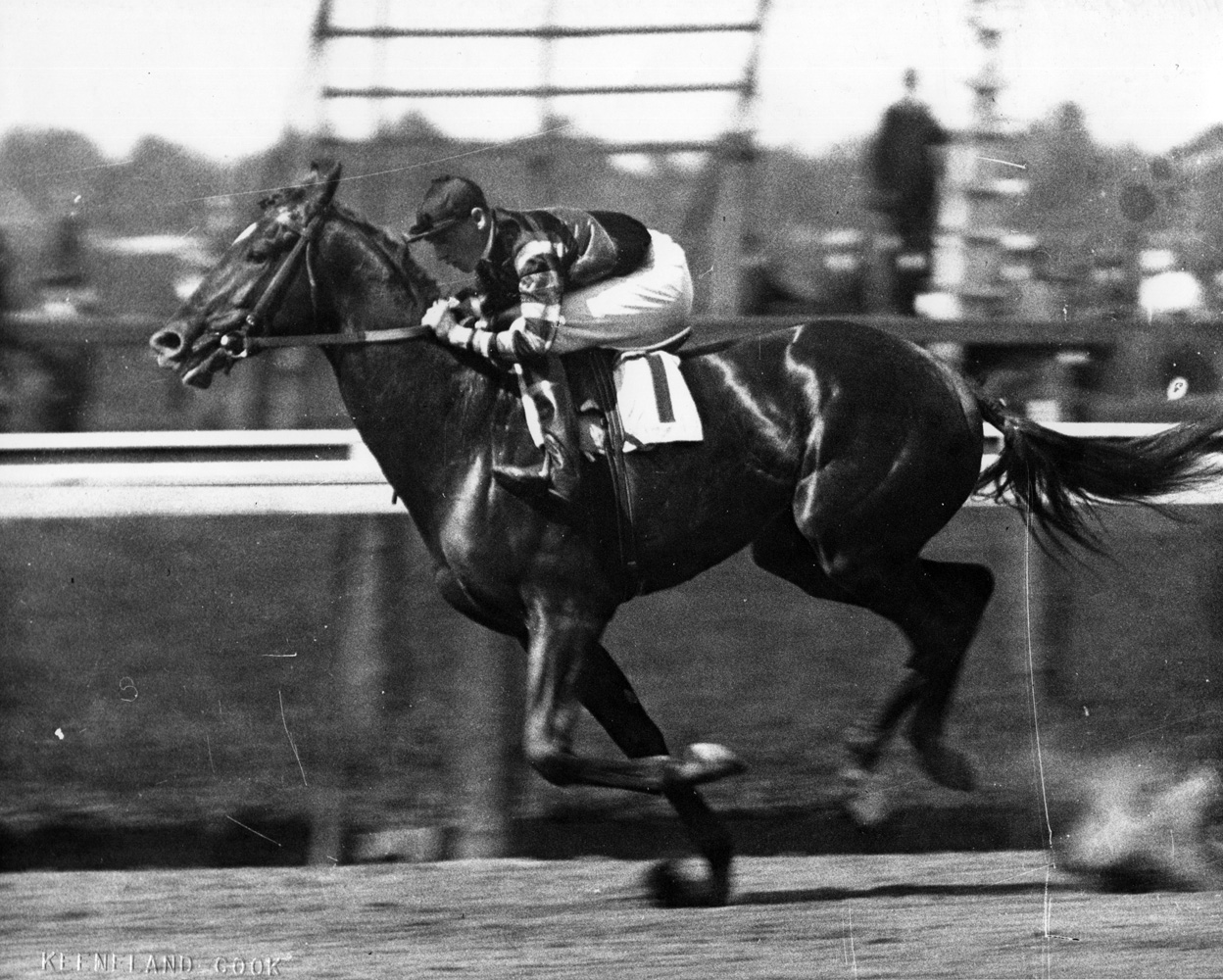 John Loftus and Man o' War win the 1919 Belmont Futurity, their last race together (Keeneland Library Cook Collection/Museum Collection)