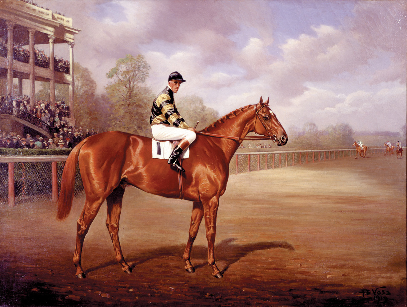 """""""Man o' War as a Two-Year-Old"""" by Franklin B. Voss (with John Loftus in the irons) (Museum Collection)"""