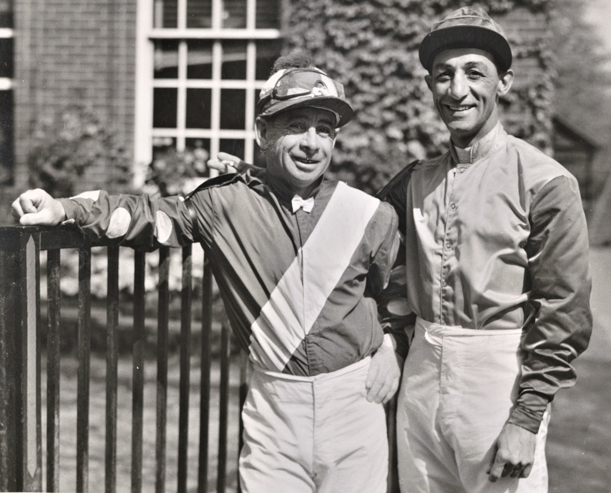 Johnny Longden and Eddie Arcaro in 1955 (Keeneland Library Morgan Collection)
