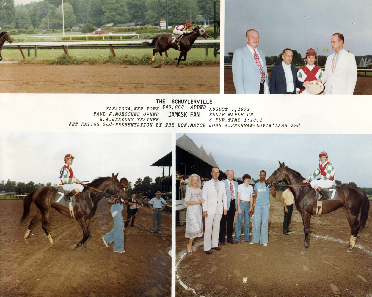 Win composite from the 1979 Schuylerville Stakes at Saratoga, won by Eddie Maple and Damask Fan (NYRA/Museum Collection)
